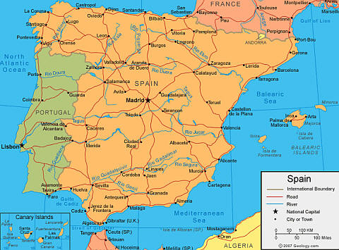 maps of spain and maps of the uk